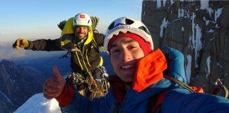 Sebastián Rojas Schmidt y Fito Torrens, alegría en la cumbre de la torre Egger.