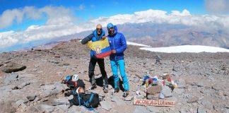 Egloff y Miranda la semana pasada en la cumbre de Aconcagua.