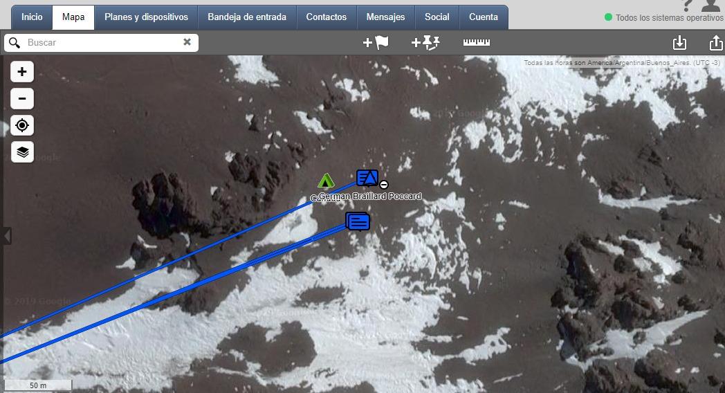 La posición este lunes por la tarde de los montañistas Braillard y Merino, recibida por Patrulla de Rescate.