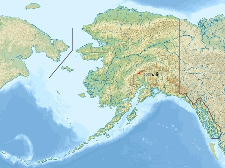 Ubicación relativa dentro de Alaska, EE. UU.