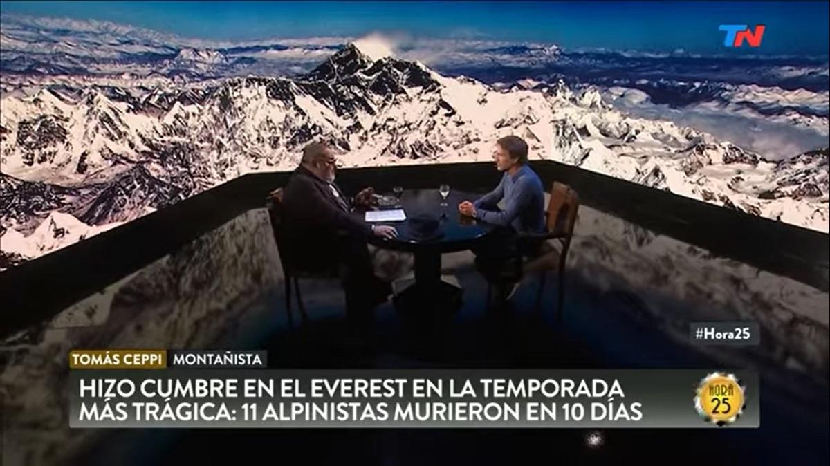 Entrevistado por el periodista Jorge Lanata en el programa Hora 25, Tomás Ceppi cuenta su experiencia en Everest.