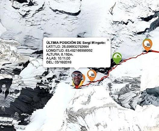 Imagen del Race Tracker de Sergi Mingote, situándolo en la cumbre de Dhaulagiri esta mañana.