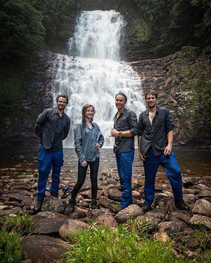 Houlding, Taylor, Etherington y Cutbirth, el equipo de escalada en Roraima.