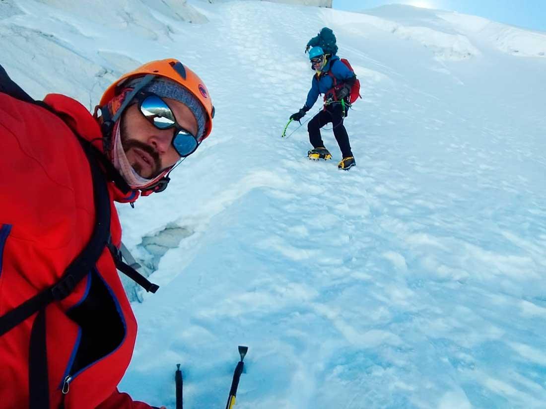 Ascenso en velocidad por la ruta 360° de Aconcagua, uno de los objetivos actuales de Matías Sergo.