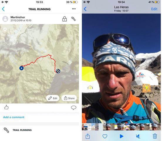 El track emitido por el GPS y la foto con el horario de salida de Plaza de Mulas hacia la cima de Aconcagua.