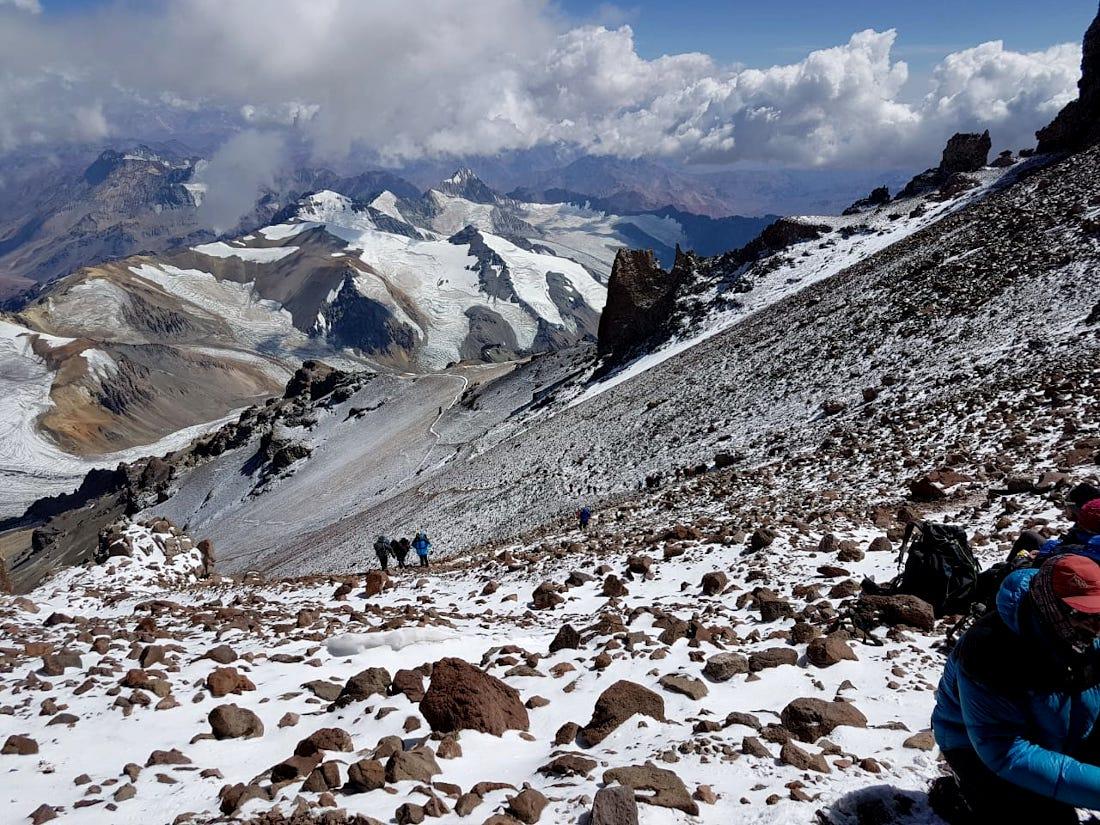 La zona conocida como la travesía, en Aconcagua, donde ocurrió el fatal accidente este sábado. (Ph Archivo Patrulla de Rescate)