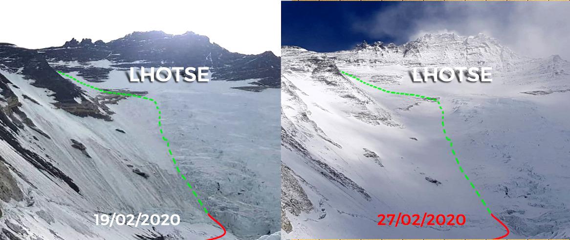 El invierno se hizo sentir con fuertes nevadas en la gran pared del Lhotse. (Ph equipo Alex Txikon)