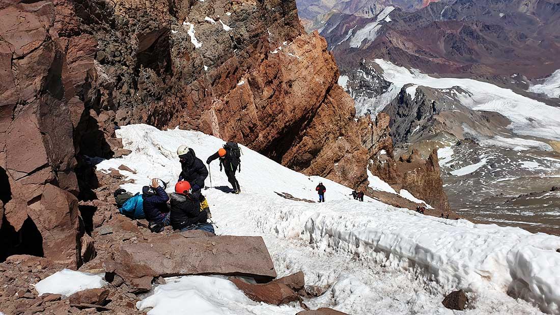 La canaleta en el Aconcagua, para Yandy el momento más complejo del ascenso.