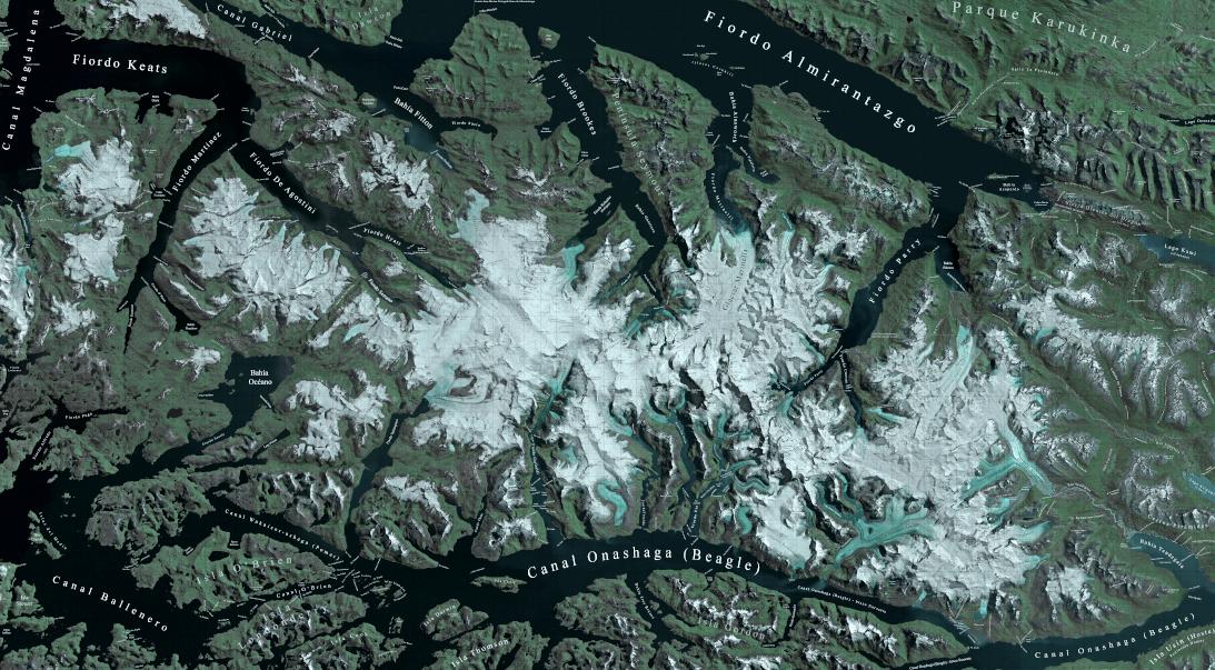 Al fondo del fiordo Parry se despliegan las dos cumbres más altas del cordón: Darwin y Shipton. (Mapa del proyecto UNCHARTED www.unchart.org)