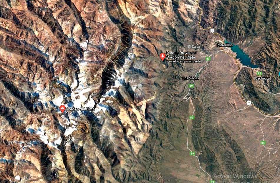 Ubicación en Google Maps del Cordón del Plata, en la provincia de Mendoza.