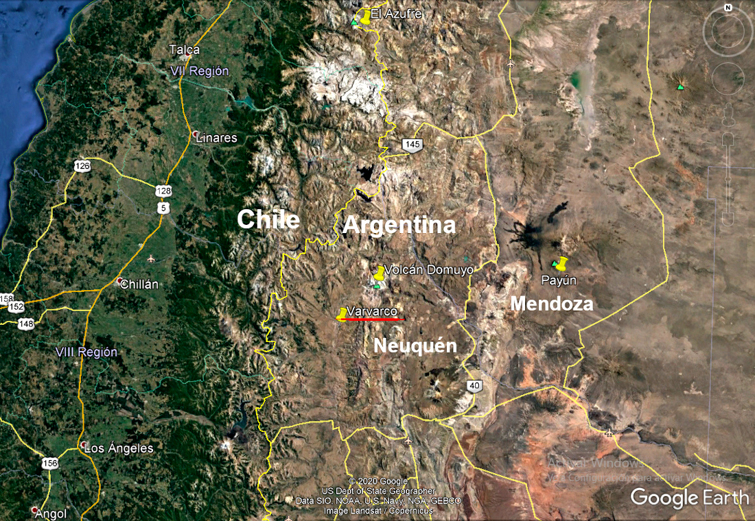 Imagen de Google Earth. Varvarco se encuentra al Norte de Nequén, en la Patagonia argentina.