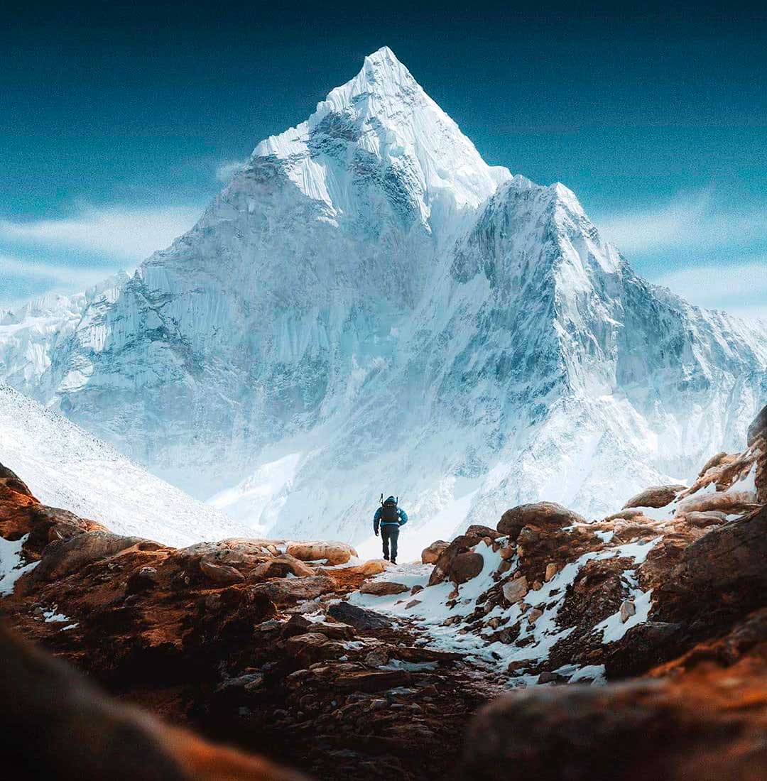 El Qomolangma -Everest, Chomolungma, Sagarmatha- a pleno. (Ph: Instagram @nonextquestion)