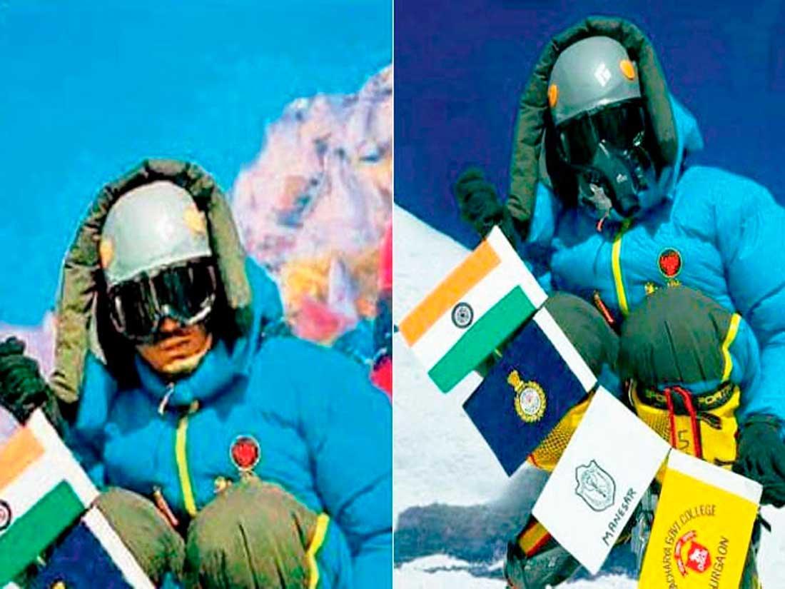 Narender Yadav Singh, alpinista de India. ¿La misma foto en dos escenarios distintos?