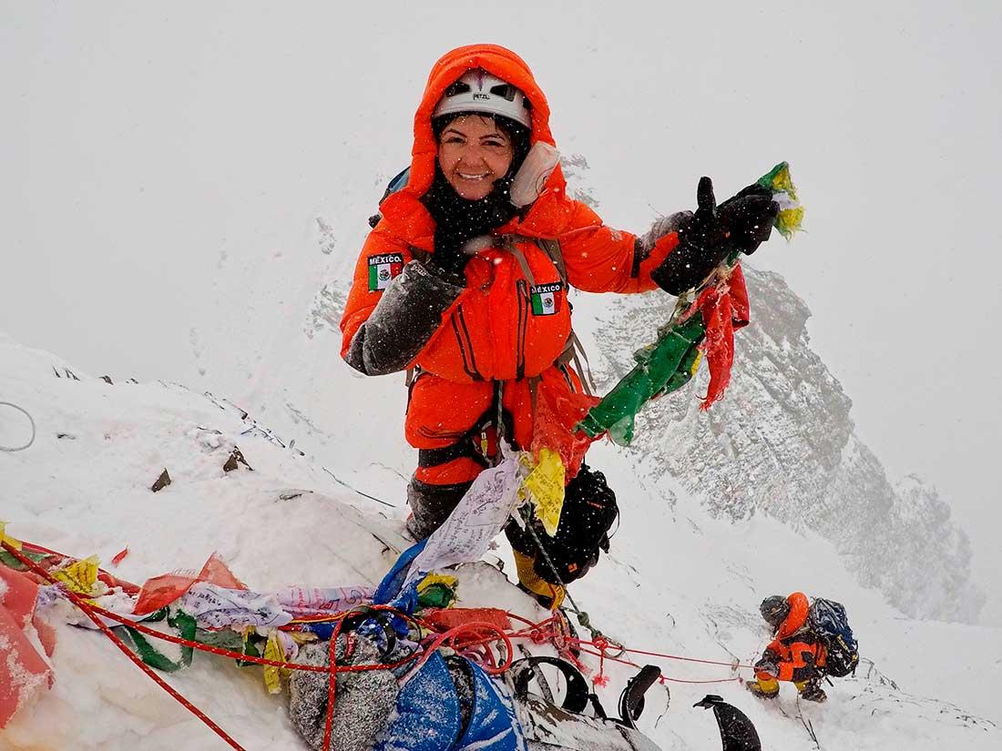 Viridiana Álvarez en su exitosa expedición a Lhotse.