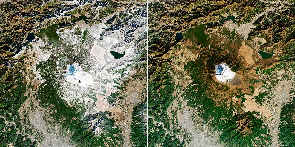 A la izquierda la cima del Fuji en diciembre de 2013. A la derecha en enero de 2021. (Earth Observatory, NASA)