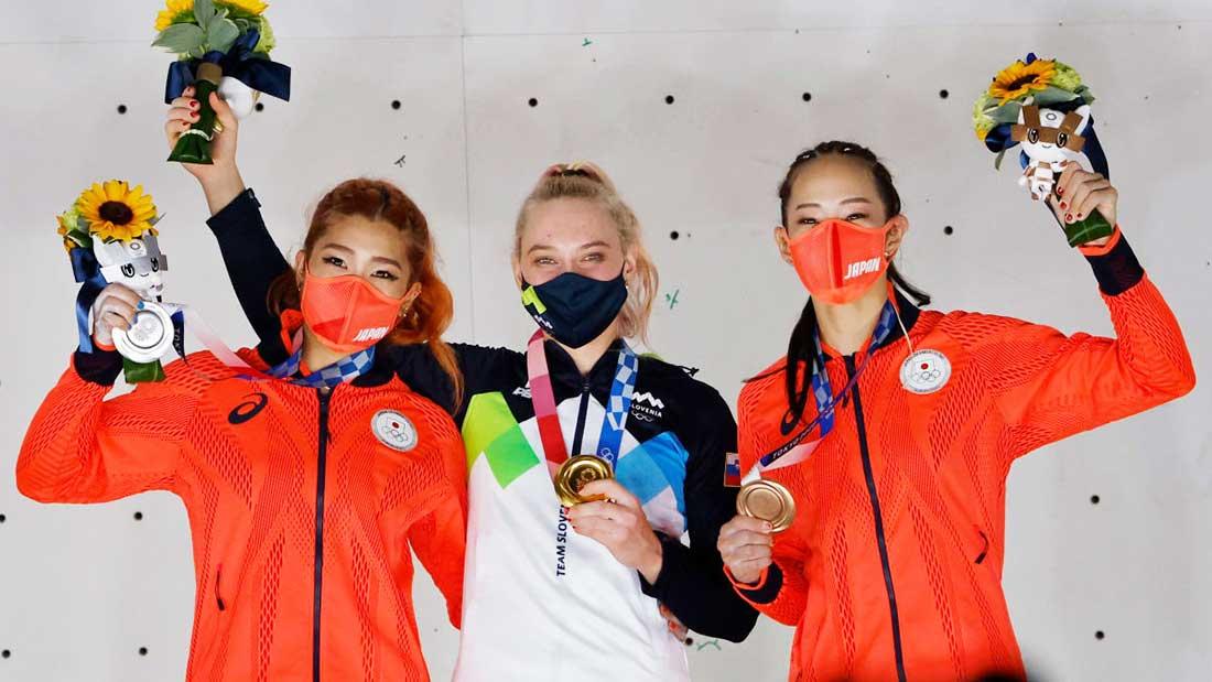 Oro para Janja Garnbret, plata para Miho Nonaka y bronce para Akiyo Noguchi. (Ph Pool via AFP)