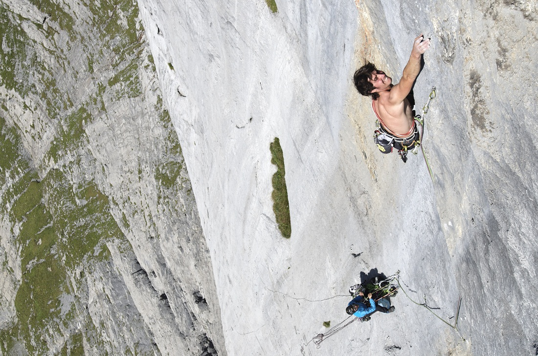 Matteo Della Bordella juto a Fabio Palma en Wendenstöcke (Suiza), ruta Infinite Jest. (Ph Pietro Bagnara)